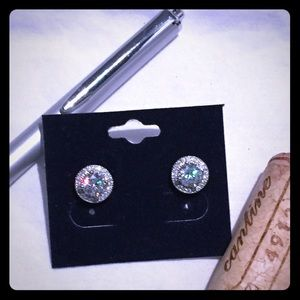 Jewelry - Round Diamanté Silver Stud Earrings- Brand New!